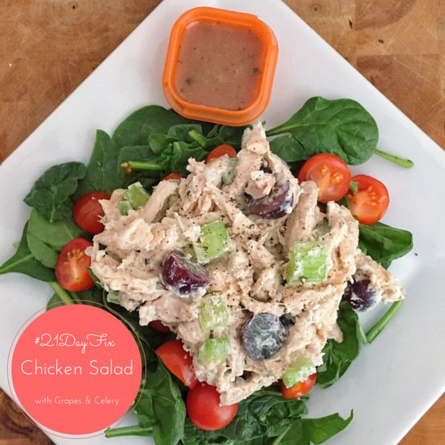 21 Day Fix Chicken Salad Made With Greek Yogurt With Grapes And Celery 21 Day Fix Shakeology Recipes Pinterest Greek Yogurt Celery And Yogurt