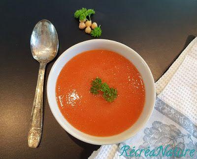 RécréaNature:Soupe Froide Carottes, Tomates et Pois Chiches {Cuisine Crûe, Vegan, sans gluten}