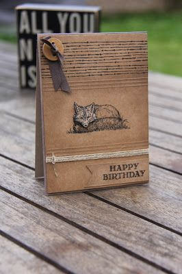 handmade birthday card by Stampin Up UK Demonstrator Zoe Tant ... kraft ... fox ... luv the triple twine wrap and artistic sponging ... Stampn' Up!