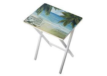 This Beach Bliss decorative tray table features a coastal beach scene design in tranquil tropical colors. Wood TV tray measures 19.5'' x 27.5''.