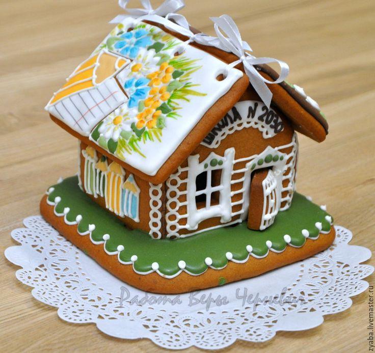 """Купить """"Прощай школа"""" пряничный домик в подарок учителю или выпускнику - пряник, расписные пряники"""