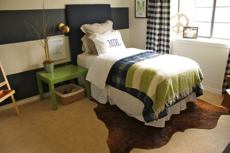 """""""Farm Chic"""" Big Boy Room - love the navy and green color combo! #bigboyroomStripes Wall, Boy Bedrooms, Boys Bedrooms, Kids Room, Big Boys, Boy Rooms, Boys Room, Farms Chic, Accent Wall"""