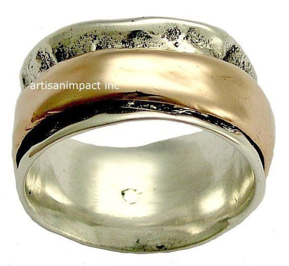 New Wedding band silver wedding ring rose gold ring spinning ring unique mens