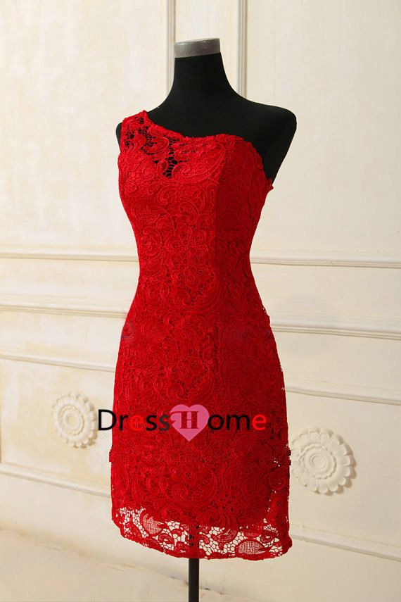 Gorgeous for Rehearsal dinner-in white!! Lace Bridesmaid Dress  Short Bridesmaid Dress / Red by DressHome, $129.99