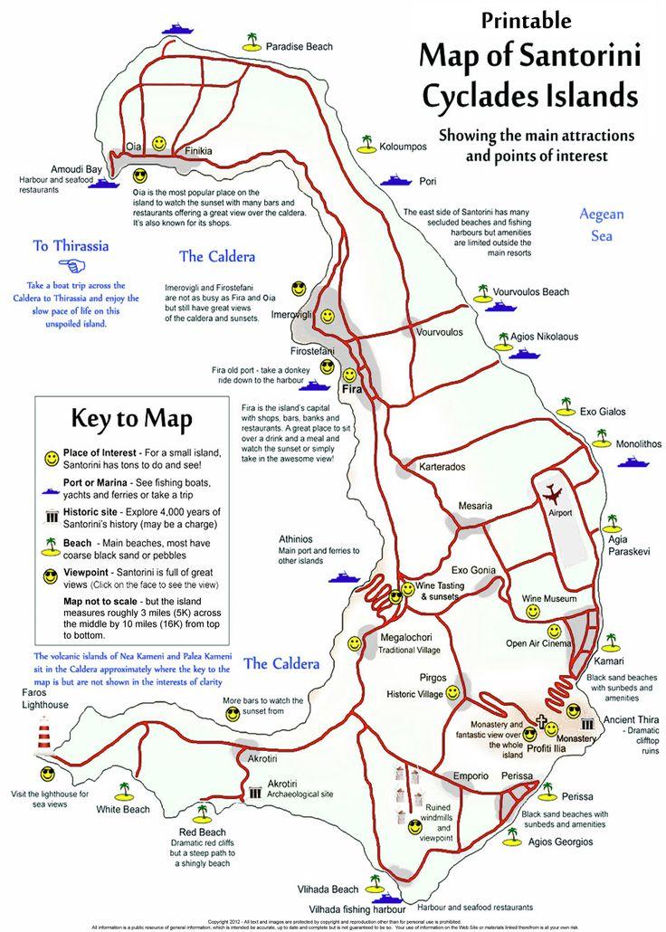 Santorini - Free Printable map of the island