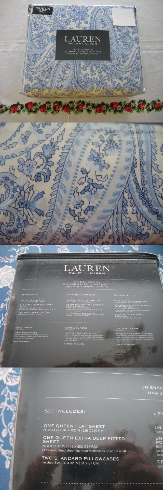Sheets and Pillowcases 20460: Ralph Lauren Blue And White Paisley Floral Queen Sheet Set X Deep New -> BUY IT NOW ONLY: $69.95 on eBay!