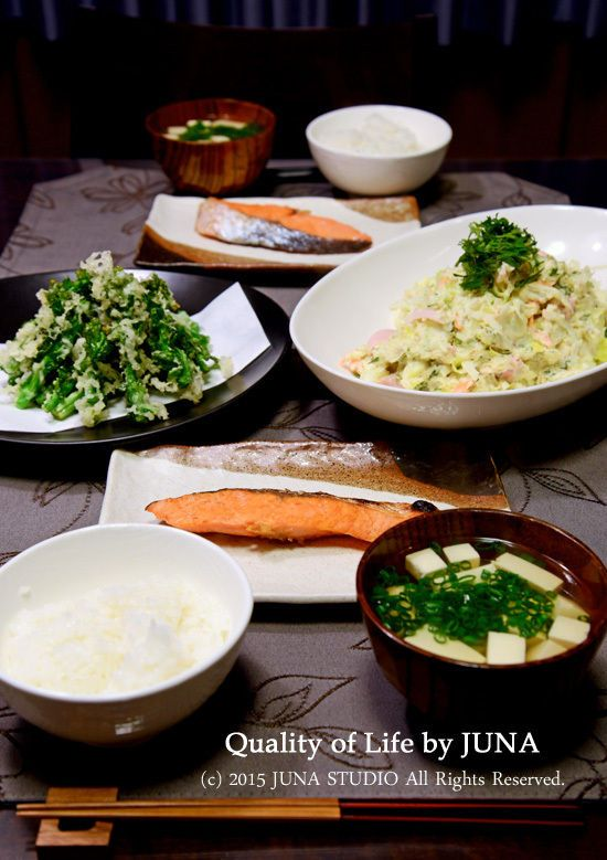 和風ポテトサラダ、菜の花の天ぷらなど : Quality of Life by JUNA