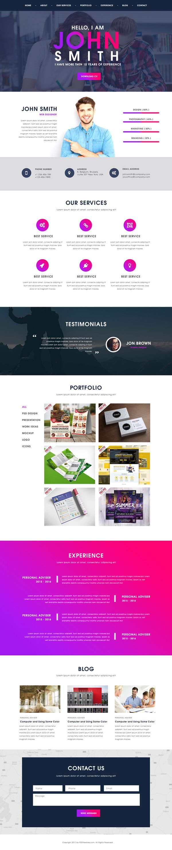 Free Creative One Page Portfolio Website Template PSD #webtemplates #freepsdtemplates #freewebtemplates #freebies #websitedesign