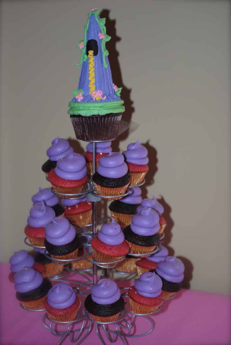 Cupcakes instead of cake, Rapunzel birthday party