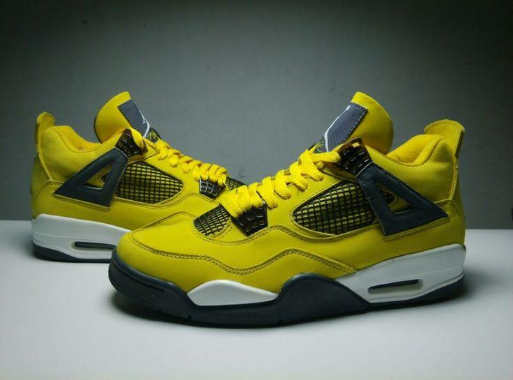quality design 4329c f5d81 ... Black Tour Yellow 408452 008 Big Kids Authentic Air Jordan 4 Lightning  ...