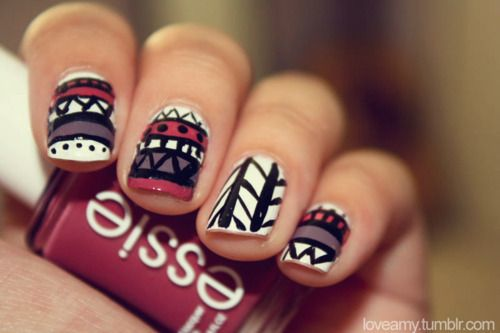 i wish i had these skillsNails Art, Nails Design, Nailsart, Tribal Nails, Nails Polish, Tribal Prints, Tribal Pattern, Prints Nails, Aztec Nails