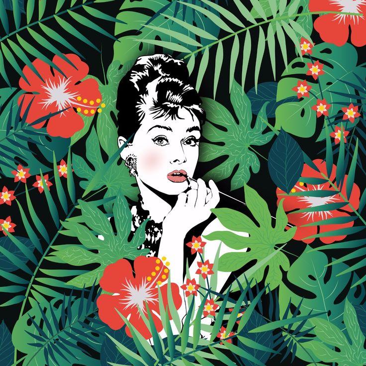 #audreyhepburn #design #graphic #graphicdesign #jungle #tropical #leaf #fomous #creative #claudiachieffo #popart #pop #art #color #colorful green #nature