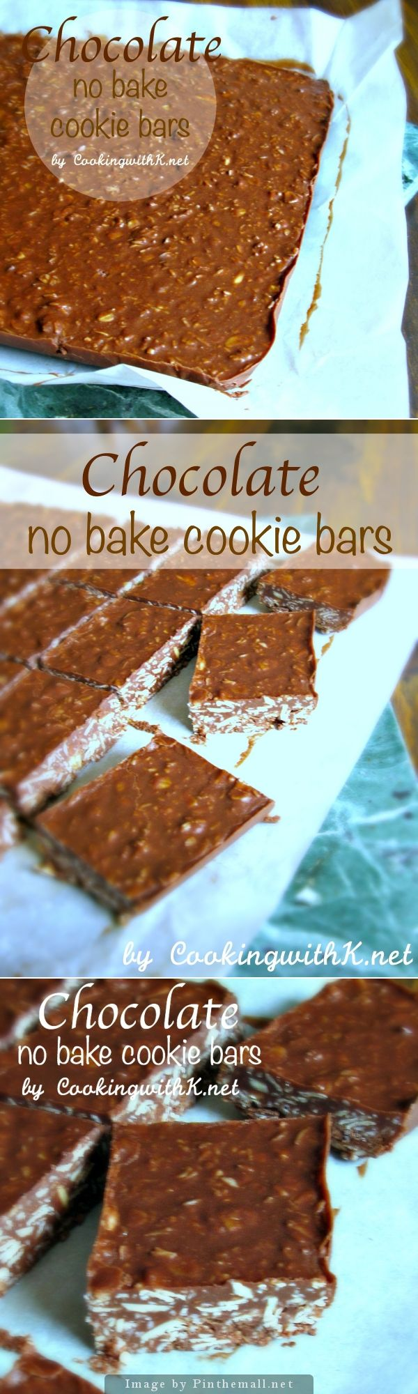 Chocolate No-Bake Cookies Bars | The healthy no-bake cookie bar version made with coconut oil! | CookingwithK.net - created via http://pinthemall.net