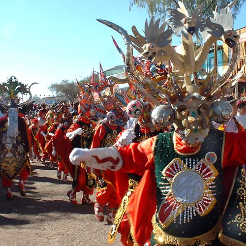 Festival of La Tirana - A Chilean tradition and three-day celebration that takes place in the small town of La Tirana and attracts hundreds of thousands of spectators from all over the world.  Music, dancing, and elaborate costumes celebrate the Virgin Carmen, patron saint of Chile.