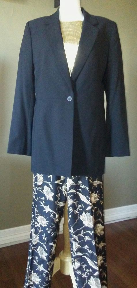 Dana Buchman Women's 3 Piece Suit Set Gold and Black Size XL 100% Silk #DanaBuchman #3Piece