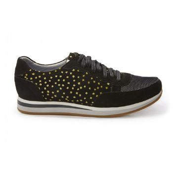 Rose Rankin Black Star Trainers: These 'Colt' runners are influenced by retro running silhouettes. The Star 'Colt' are made of black nubuck and panels of gold star print nubuck. A dark mesh covers the toe. Silver leather lines the inside and our iridescent tag loops the tongue.