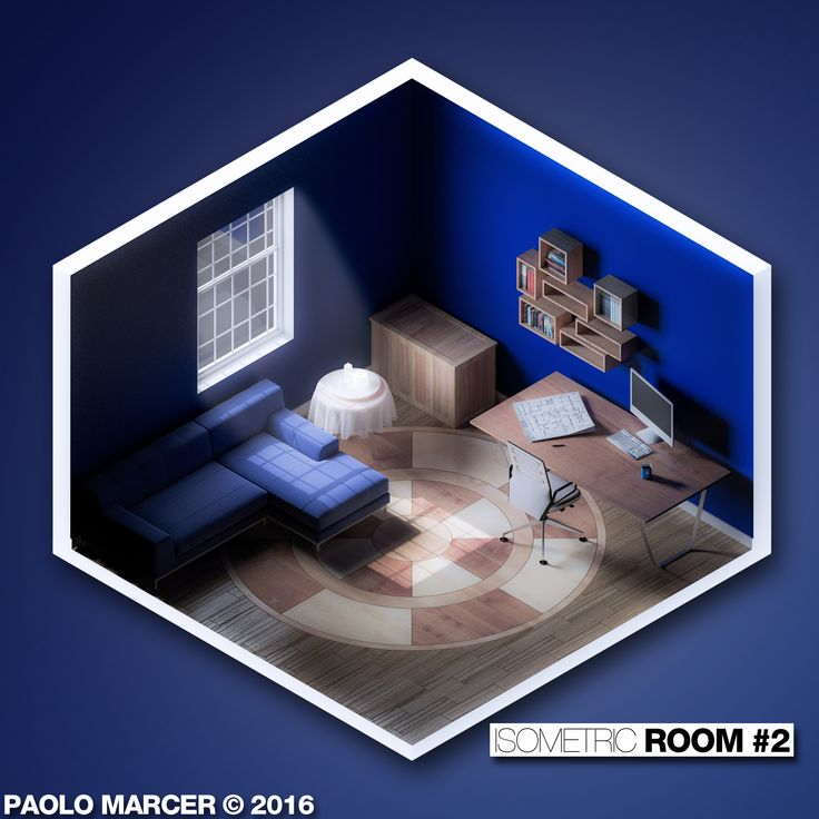 Isometric Room #2    Modellazione in Cinema 4D, rendering con V-Ray + post-produzione con LightRoom & Photoshop