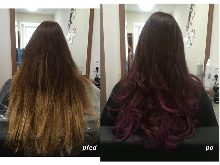 Fialové ombré od Senior Stylist Jany. / Purple ombre hair. Long hair. Colorful hairstyle. Before and after.