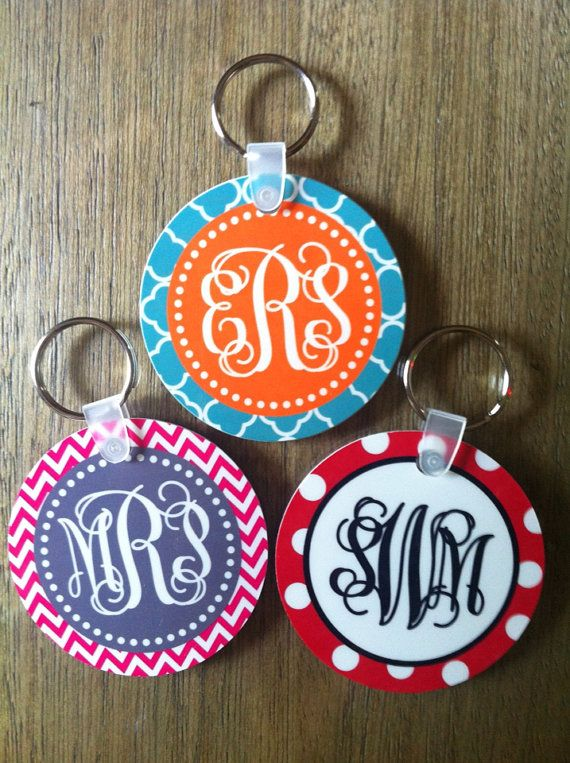 Personalized Monogrammed Keychain Design Your by KandyRiggsDesigns