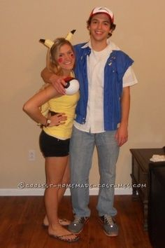 coolest pikachu and ash ketchum handmade couple costume - Halloween Costume For College Guy