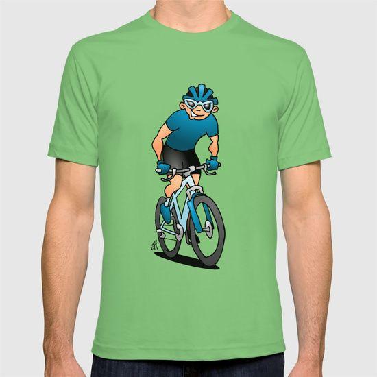 MTB - Mountain biker in the mountains T-shirt    #MTB #Tshirt #ATB #VTT #BTT #Society6 #Cardvibes #Tekenaartje #NEW