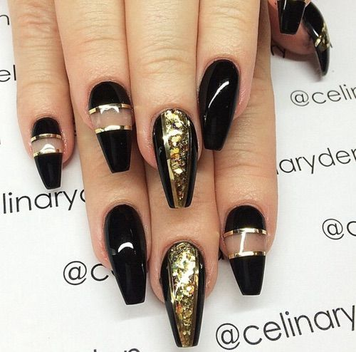 Black Nails With Glitter On Ring Finger