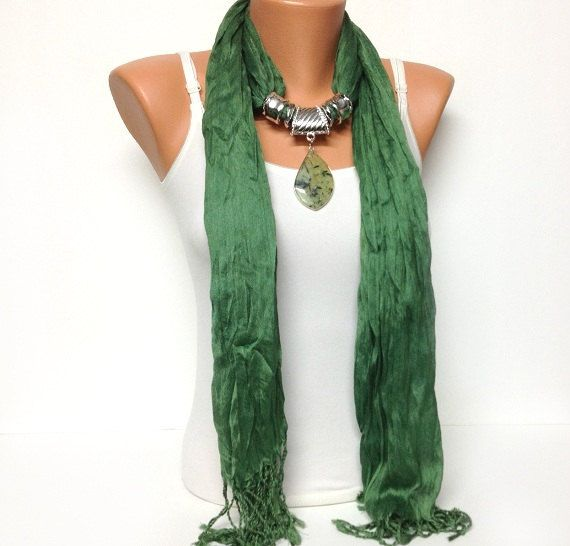 green jewelry scaf with natural gemstone pendant