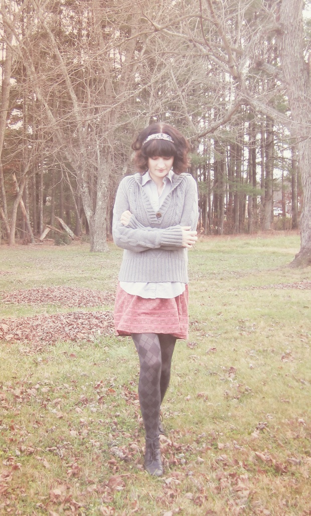 Warm hooded sweater over collared hand-blocked Mata Traders dress.