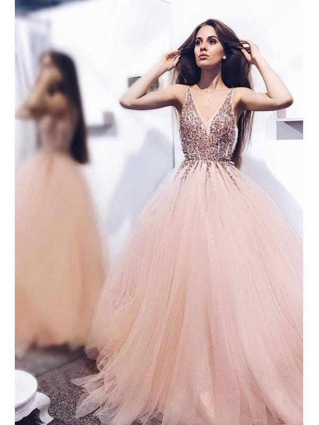 56583fc3b9 Blush Pink Prom Dresses Beaded V Neck Tulle Ball Gown Prom Dress - SheerGirl