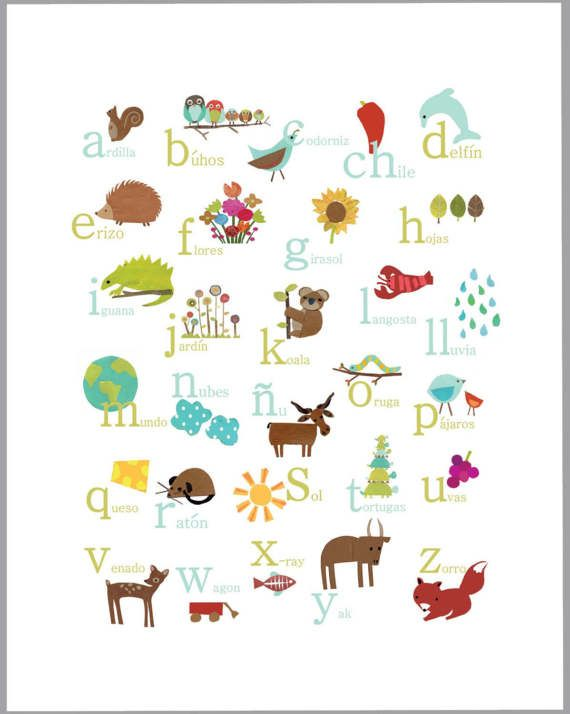 Printable Spanish Alphabet Wall Art Digital Download Print 11x14 Animal Prints Abc Art Nature Themed Gender Neutral Nursery Abc Poster Spanish Alphabet Alphabet Poster Abc Art
