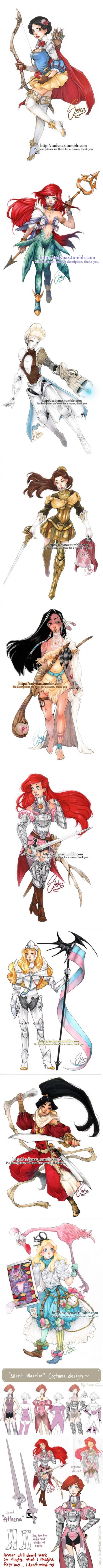 Disney Princesses  + Armors =  Warrior Princesses! Would like to see people cosplay this.. Hahahha