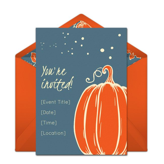 """FREE, beautiful Halloween party invitation. Love this """"Simple Pumpkin"""" online invitation design you can personalize and send via email."""