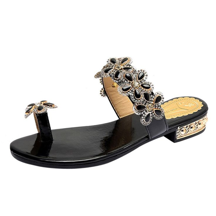 2018 Summer Beach Shoes Women Casual Flat With Low Heels Buckled Outdoor Rhinestone Floral Fl…