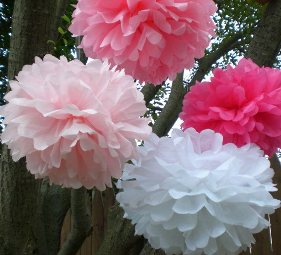 Baby Shower Decorations Girl 8 Hanging Tissue  Poms by TeroDesigns, $25.00