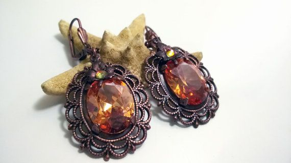Copper plated brass earrings Chocolate and by victorianIVAstyle