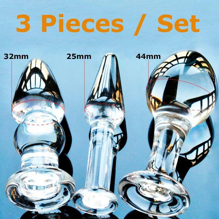 Pyrex verre butt plugs set Cristal anal godes perles faux mâle pénis masturbateur femelle sex toy produits pour adultes pour les femmes hommes gay