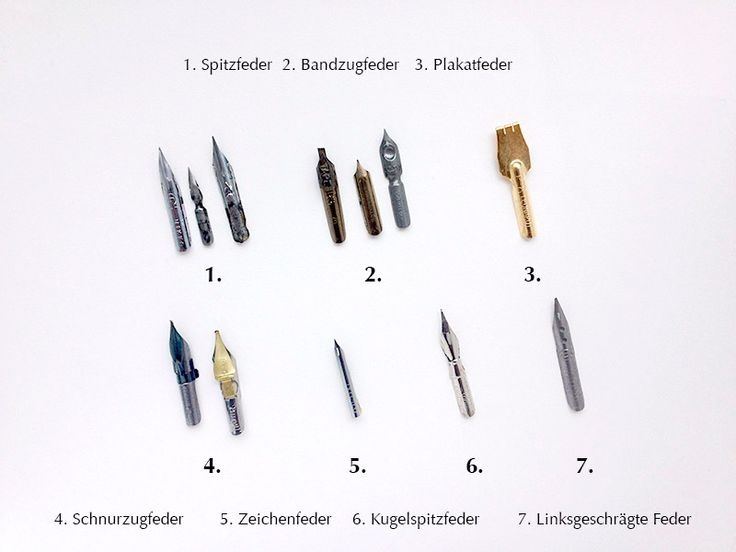 Es gibt eine große Anzahl unterschiedlicher Kalligrafie-Federn, die für verschiedene Schreibstile zum Einsatz kommen. Ich stelle die diversen Federn vor und erkläre ihre Verwendung. 1. Spitzfedern …