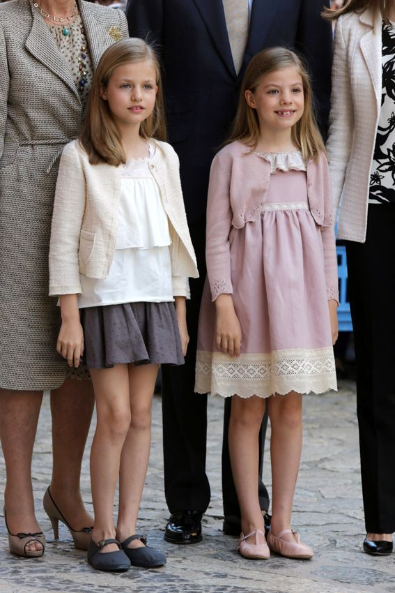 Infantas Leonor and Sofia attend Easter Mass with their parents King Felipe VI and Queen Sofia and grandmother Queen Sofia in Palma 4/5/2015