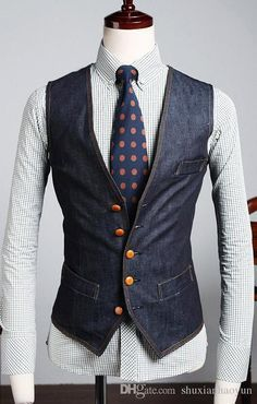 The New Men's Denim Vest Brand Jeans Vest Men Cowboy Sleeveless Jacket Waistcoat Size M-XXL Online with $17.74/Piece on Shuxianhaoyun's Store | DHgate.com