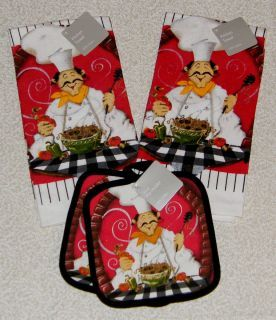 PC Fat Chef Bistro Decor Kitchen Towels Pot Holder Set New
