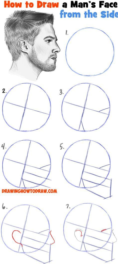 How to Draw a Face from the Side Profile View (Male / Man) Easy Step by Step Drawing Tutorial for Beginners