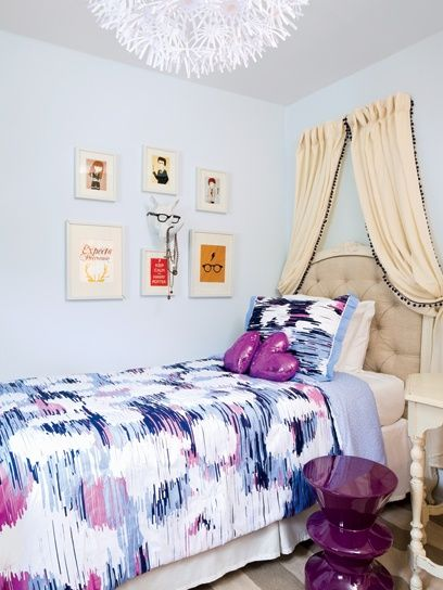 Teen Bedroom Not Digging The Color But Like The Headboard Curtain Ceiling Light Girls