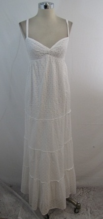 New Michael Kors White Eyelet Lace Spaghetti Strap Empire Maxi Dress Medium