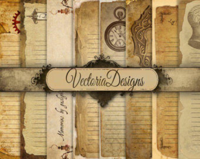 Stampabile pagine di diario di Steampunk-pagine Gazzetta spazzatura digitale carta 8,5 x 11 carta scrapbooking digitale download foglio digitale - VD0462