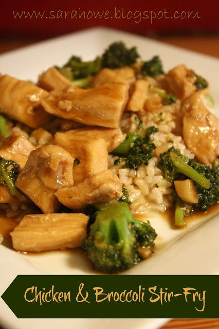 Chicken & Broccoli Stir-Fry 1 pound boneless skinless chicken breast, cubed 2 garlic cloves, finely chopped 2 teaspoons ginger, finely chopped 1 cup chicken broth 3 tablespoons soy sauce 2 teaspoons sugar 2 cups broccoli florets 2 teaspoons cornstarch