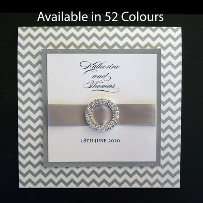 These square folding wedding invitations use a chevron pattern for the card and feature a ribbon and a diamante circle. Available in more than 50 colours. www.kardella.com