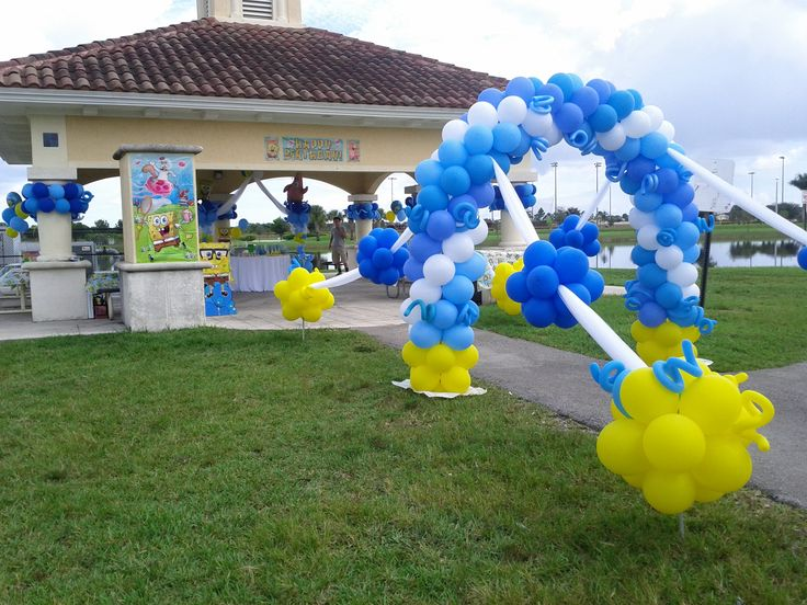 Park pavilion entrance balloon decoration balloon arch for Balloon cluster decoration