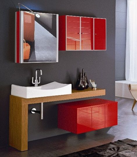 red #color #arredoquattro #bagno  Arredo caldo- Total Red ...