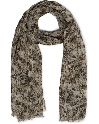 Eton Printed Flower Cotton Scarves Light Green