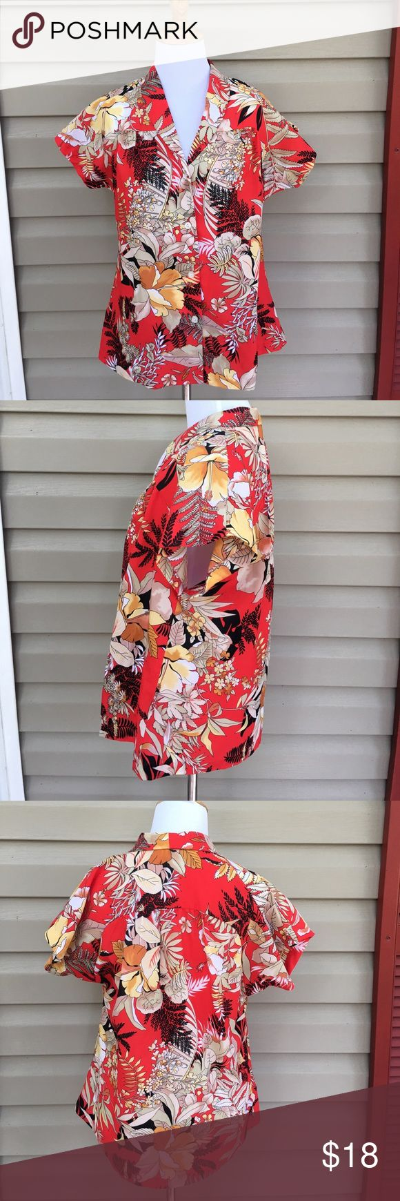 """Taps Designs Hawaii women's red/ gold shirt Very nice flowered Hawaiian shirt, red,gold, and black print, button front,  polyester. No snags stains or holes.20""""W x 25""""L Tapa Designs Hawaii Tops Blouses"""